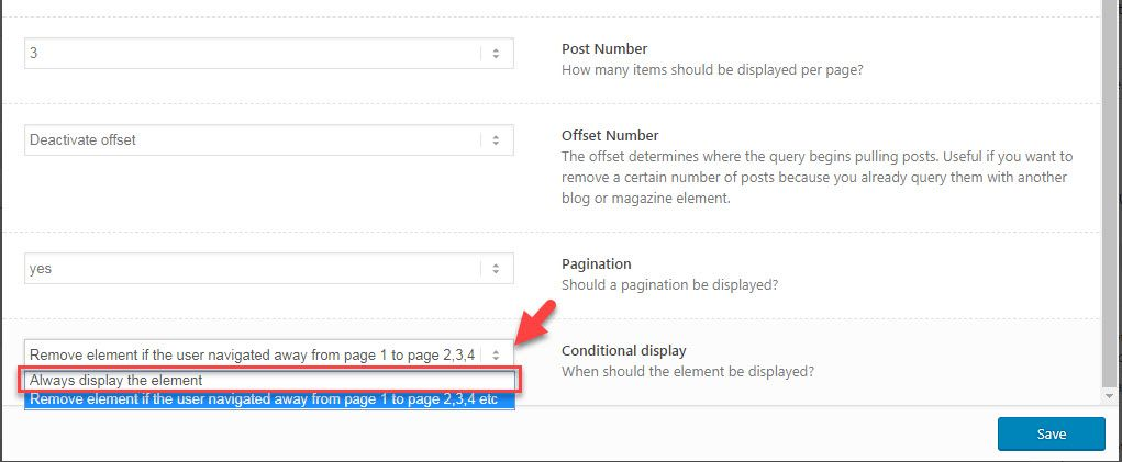 "If the option ""Remove element if the user navigated away from page 1 to  page 2,3,4 etc"" is selected, pagination will not work except page 1."