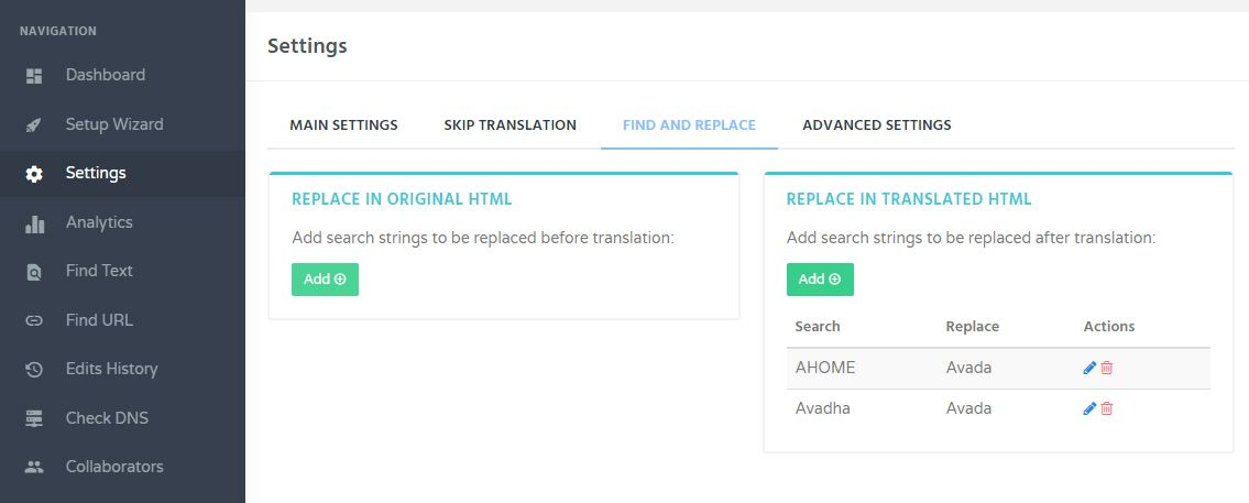 GTranslate - Find and Replace