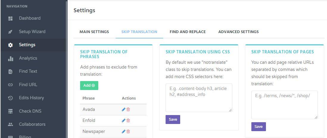 GTranslate - Skip Translation