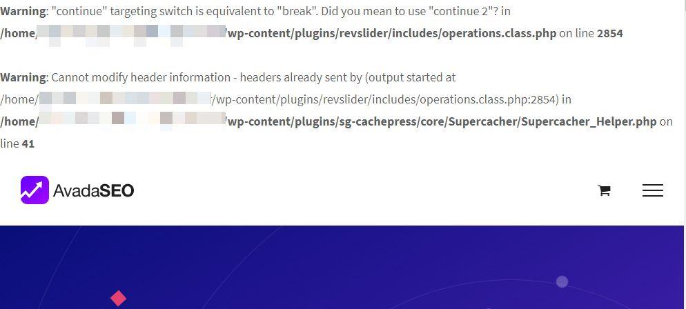 WordPress PHP 7.3 warning message