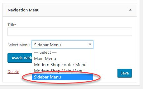 Assign a custom navigation menu to a sidebar widget area