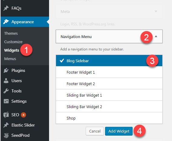 Add a navigation menu to WordPress sidebar
