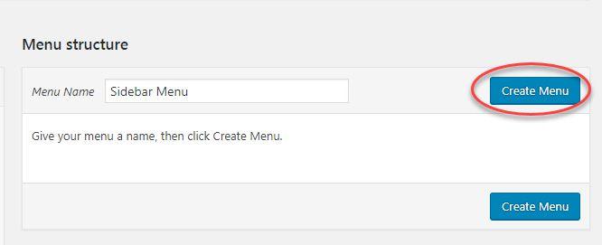 Create a new menu in WordPress