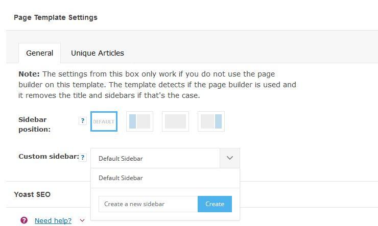 Page Template Settings in WordPress Newspaper theme
