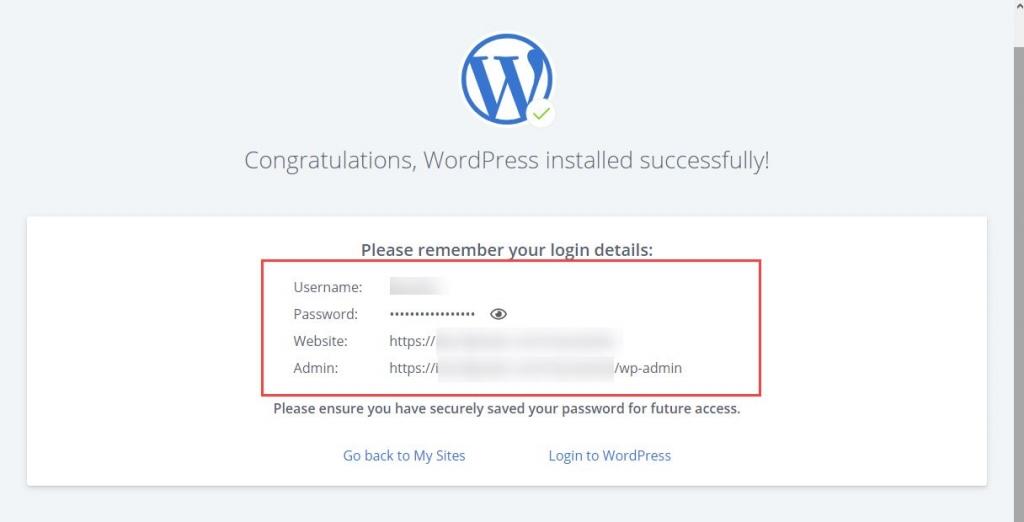 WordPress installation is complete
