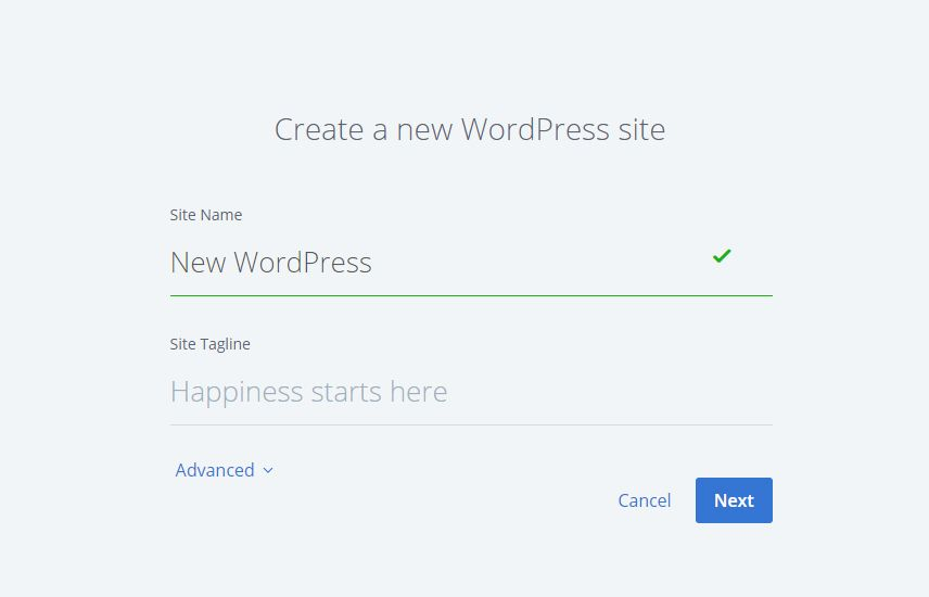 Create a new WordPress site in Bluehost Shared Hosting