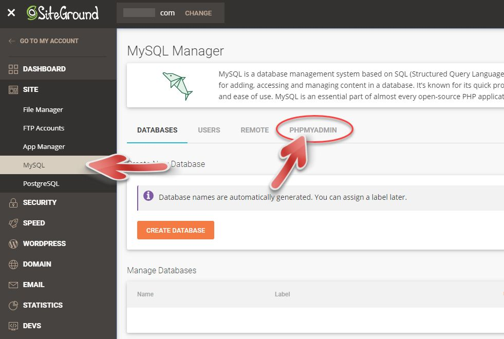 Access the database via phpMyAdmin in SiteGround
