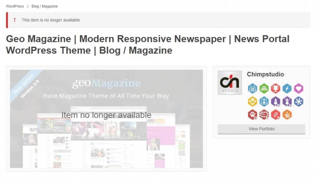 WordPress Geo Magazine theme has been removed from Themeforest