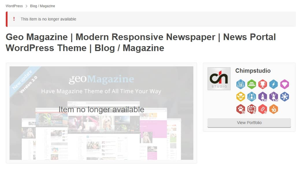 WordPress Geo Magazine theme has been removed from Themeforest