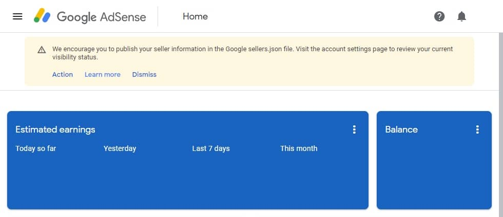 Google Adsense: We encourage you to publish your seller information in the Google sellers.json file