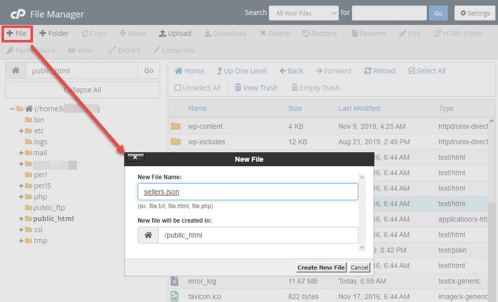 Create a new file in Bluehost File Manager