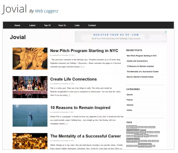 Jovial WordPress Theme - 워드프레스 테마