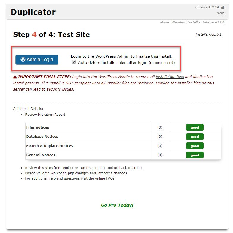 Duplicator 사이트 이전 완료