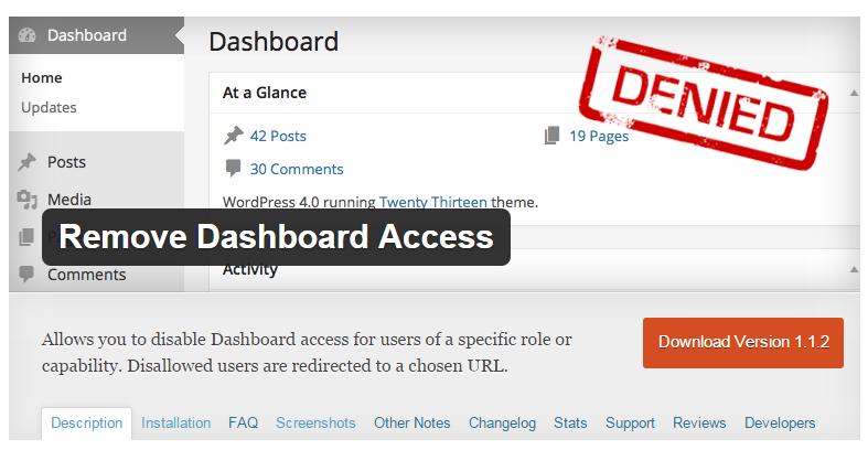 Remove Dashboard Access 워드프레스 알림판 접속 제한 플러그인