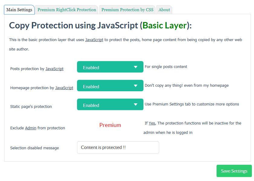 Copy Protection settingsコンテンツのコピー防止の設定