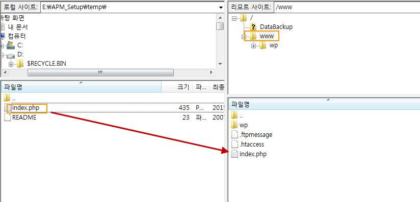 Upload index file in WordPress