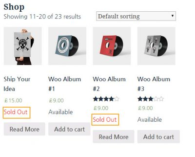 Display Available or Sold Out in WordRress WooCommerce on main page_english