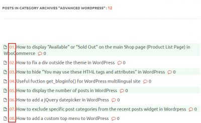 Display Post Serial Number within a Category in WordPress