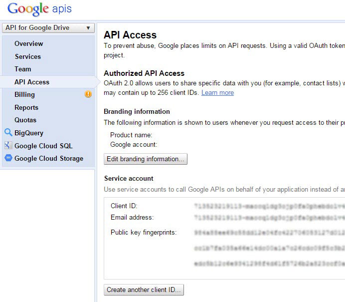 Google Drive API Screen2