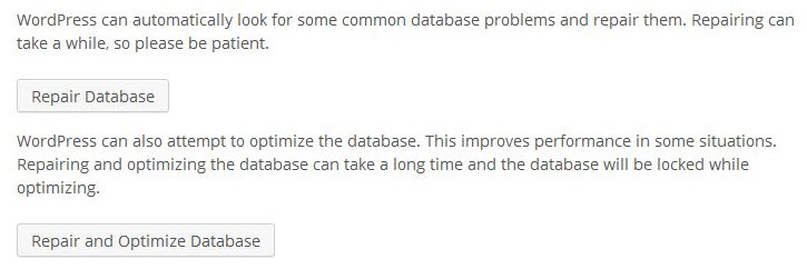 'One or more database tables are unavailable. The database may need to be repaired.' 오류