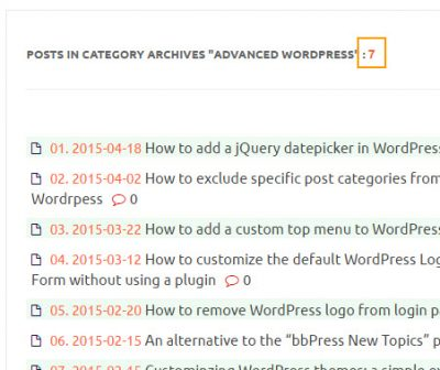 the number of posts in the current category in wordpress