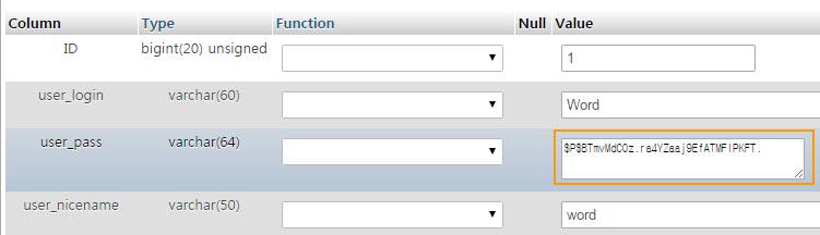 Wp_users field in WordPress ワードプレス管理者パスワードをリセットする方法