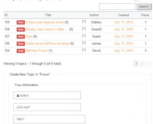 WordPress bbPress a table style template which displays topic list in a table layout