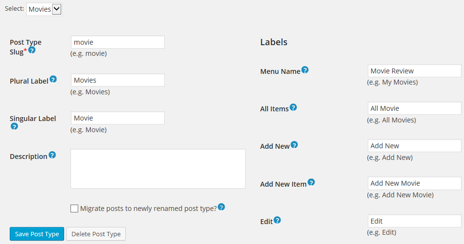 Add Movies Custom Post Type in WordPress using CPT UI