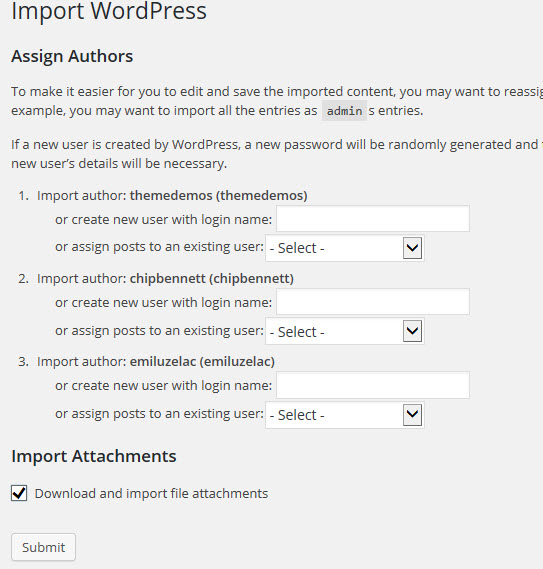 Import WordPress Demo file