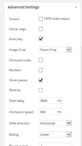 Metaslider - Advanced Settings