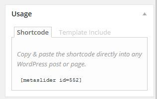 Metaslider - shortcode
