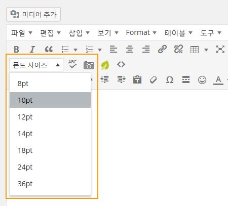WordPress Editor Font Size button