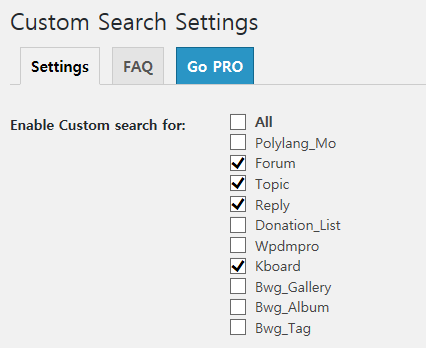 Custom Search Settings