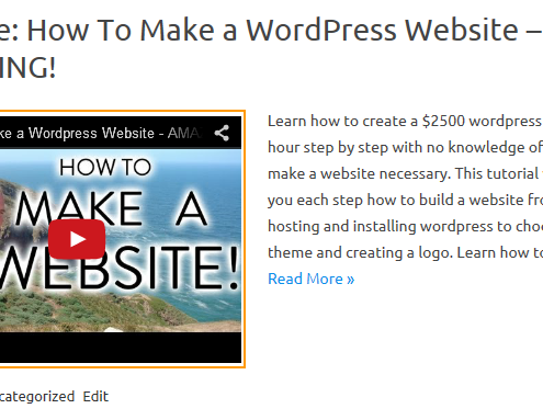 Embed YouTube video in the front page or cateogry pages in WordPress