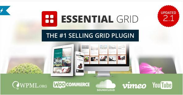Essential Gridは、グリッド機能(コンテンツをポートフォリオレイアウトに配列)を提供するプラグインとして販売1位を記録しているベストセラーのプラグインです。