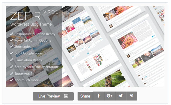 Zefir Theme WordPress - 심플한 포트폴리오 스타일 워드프레스 테마