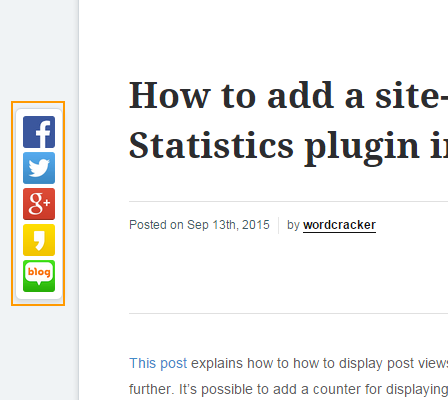 Sticky Social Media Sharing Plugin in WordPress
