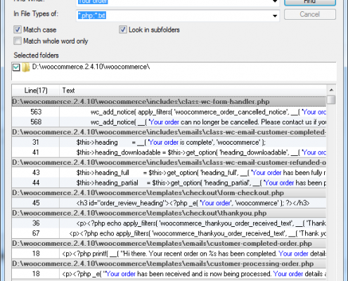 FindInFiles Results - Find a string in multiple files in multiple subfolders