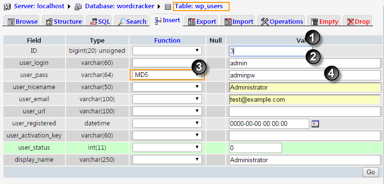 Insert Admin in phpMyAdmin