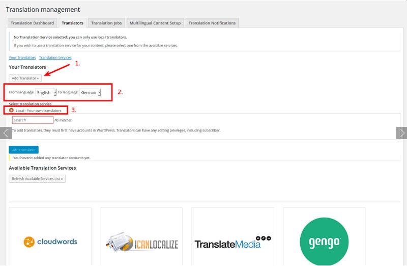 WPMLのTranslation Managementコンポーネントを使用すると、独自の翻訳を指定して翻訳するかWPMLで提供されるIcanlocalizeサービスを利用することができます。