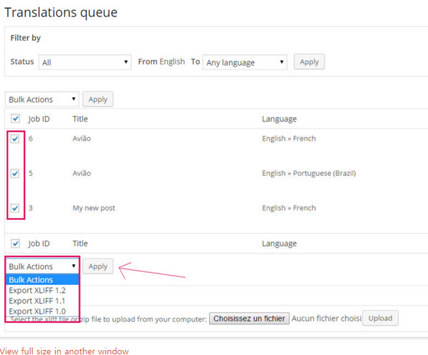 WPML export XLIFF in WordPress - 워드프레스
