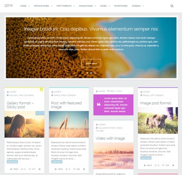 Zefir WordPress Theme - 워드프레스 포트폴리오 테마