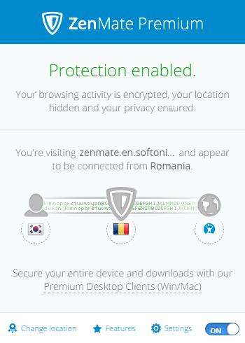 ZenMate Enabled - 크롬용 IP 우회 프로그램