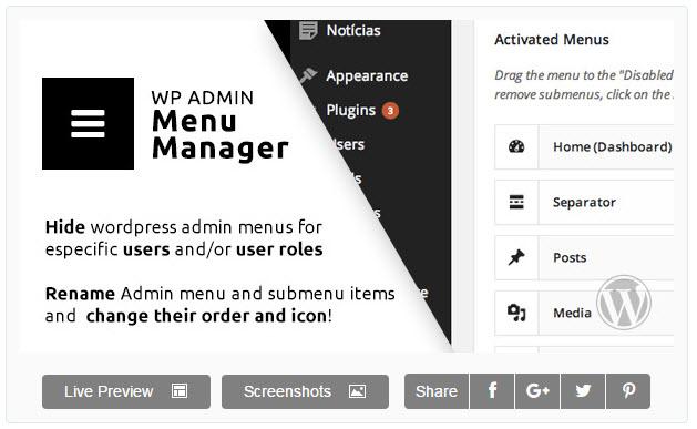 WP Admin Menu Manager 워드프레스 어드민 메뉴 관리자 플러그인