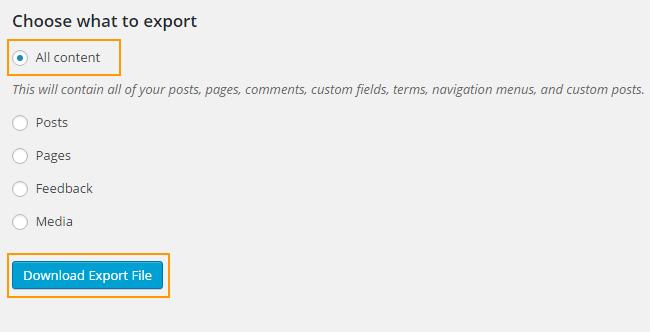 WordPress.com 데이터 내보내기