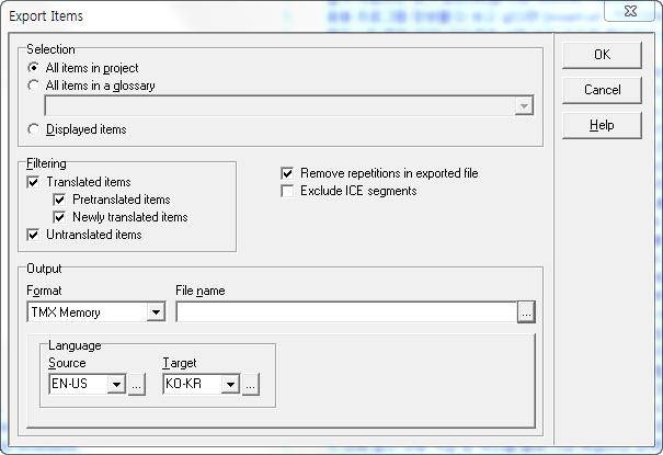 Xbench Export Tmx - 번역 메모리 변환