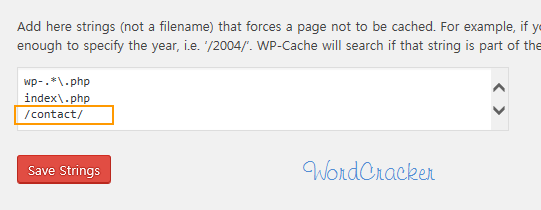 Add a page which will not be cached in WordPress