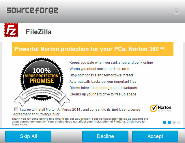 Norton install - 파일질라 설치