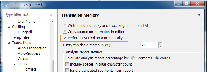 Wordfast Translation Memory Preferences