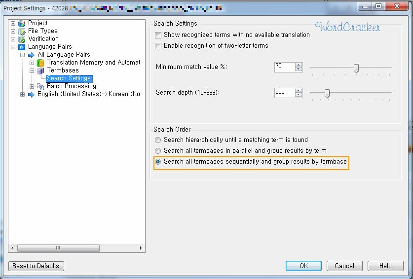 Change Glossary Search Order in SDL Trados Studio